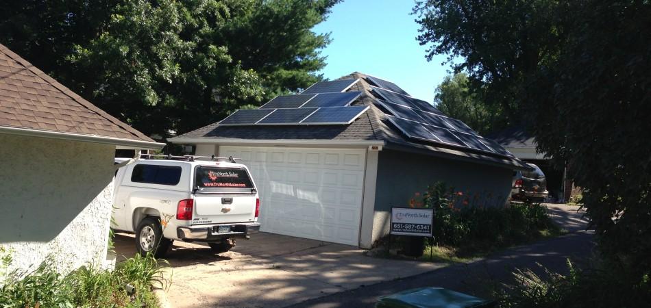 St paul residential solar panel installation on garage trunorth solar for Rangements garage saint paul